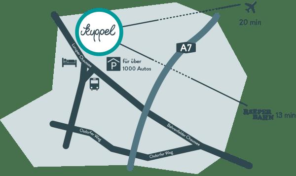 Anfahrtsskizze Lageplan Anfahrt Karte Kuppel Hamburg