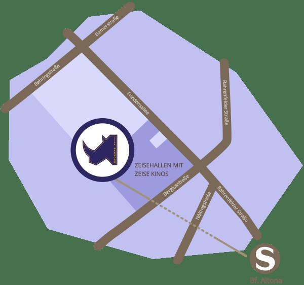 Anfahrtsskizze Lageplan Anfahrt Karte Lila Nashorn Hamburg