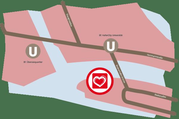 Anfahrtsskizze Lageplan Anfahrt Karte mLove Hafen Elbe Hamburg