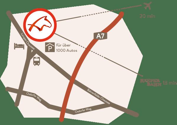 Anfahrtsskizze Lageplan Anfahrt Karte Trabrennbahn Bahrenfeld Hamburg