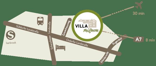 Anfahrtsskizze Lageplan Anfahrt Karte Villa Mignon Hamburg